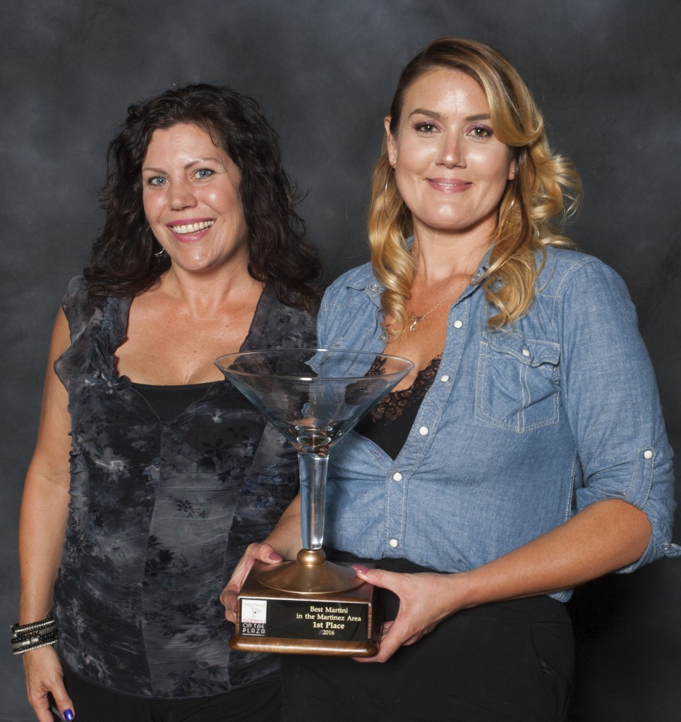 Chelsea Skinner (at left) and Carmen Barclay (right) of Corner's Tavern took first place honors for Best Martini at the 2016 Martini's on the Plaza Gala, hosted by the Martinez Chamber of Commerce on Saturday, Sept. 17. Julie Arndt and Dani Mercado of Back 40 took second place, with Danielle Freeman and Amber Tzimbal of Nu Rays placing third. The People's Choice award went to Cindy Shelby and Laura Philpot of Martinez Yacht Club. (RICHARD CASH / Courtesy)