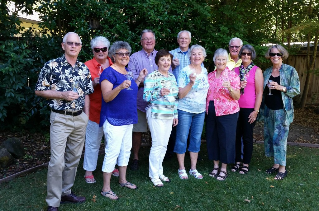 The American Association of University Women of Pleasant Hill-Martinez (AAUW), will host their Taste of Fall on Oct. 1 in Martinez. Front row, from left: Gary and Sherrie Moore, Susanne Rheingruber, Suzanne Salter, Gale Miner, Claudia Bass and Marlene de Laurenti;  back row, from left: Margie and Lou Pruitt, Dan Salter and Bob Bass. (AAUW / Courtesy)