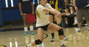Alhambra junior Sophia Olson makes on of her team-high 13 digs in the Bulldogs' 3-0 win over Freedom-Oakley on Tuesday, Sept. 13, 2016. (MARK FIERNER / Martinez Tribune)