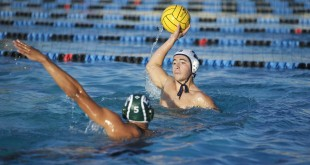 Alhambra's Tony Moore surveys the pool and looks to either pass or shoot in the Bulldogs' 23-14 win over the St. Patrick-St. Vincent Bruins on Sept. 14, 2016. (MARK FIERNER / Martinez Tribune)