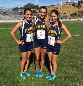 Alhambra runners (from left) Erica Cardinale, Marissa D'atri and Isa Mendoza stop in between the action for a photo in the new cross country uniforms. The trio competed at the Peter Brewer Invitational at Castro Valley High School on Oct. 8, 2016. (COURTESY / On File)