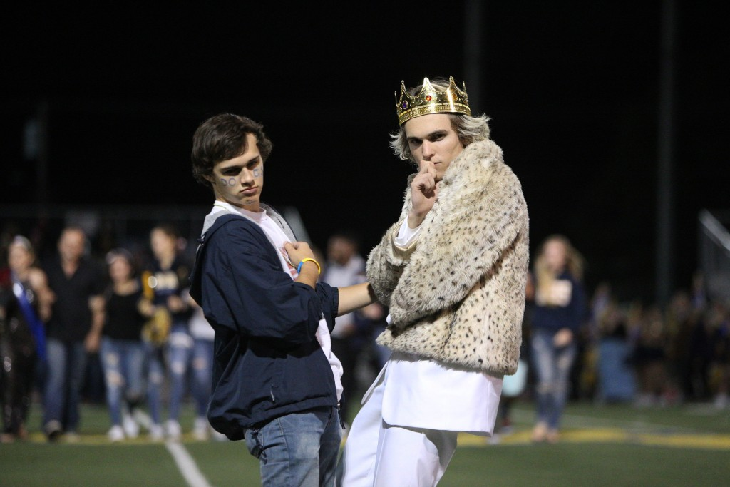 Alhambra High School Homecoming King Josh Lipman hams it up at the  2016 Homecoming football game at Knowles Field, Friday, Oct. 21, 2016. (MARK FIERNER / Martinez Tribune)