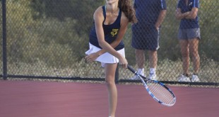 Alhambra freshman Julia Giannini is one half of the duo that's won every single match they've played in the Diablo Athletic League this season. Her partner, Katie Foerste is also a freshman. (MARK FIERNER / Martinez Tribune)