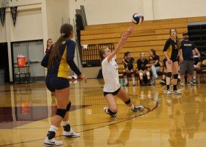 Alhambra junior Sophia Olson (pictured above against Northgate) digs out a shot. Olson had 17 digs in the win against Berean Christian on Sept. 29, 2016. (MARK FIERNER / Martinez Tribune)