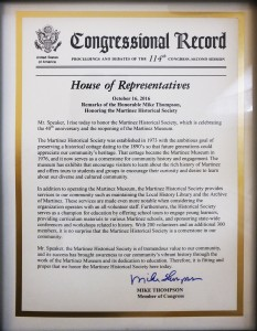 A framed document noting Congressman Thompson's remarks honoring the Martinez Historical Society were entered into the Congressional Record. Thompson presented the Martinez Museum with the framed document during his visit to the Museum. (COURTESY / On File)