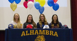 Four Alhambra seniors signed their national letters of intent in front of their friends and family on Wedesnday, Nov. 16. From left: Karlee Sparacino, UC Berkeley; Maci Shepherd, Whitworth University-Spokane; Bri Perez, UCLA; Kimiko Zapanta, Saint Mary's College. (MARK FIERNER / Martinez Tribune)