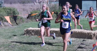Alhambra senior Erica Cardinale (pictured above at Artichoke Invitational) nearly broke the 20-minute mark in her three-mile race on Oct. 26, 2016, clocking in at 20:05.3.  (DARREN CHAVEZ / Courtesy)
