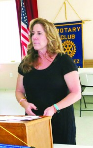 Jamie Rucki (at right) of Contra Costa County's Children and Family Services, at a recent  meeting of the Martinez Rotary. (PAUL CRAIG / Courtesy)