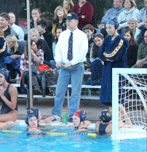 Frank Reichert (center) coached the Alhambra girls water polo team for 19 years overall, 17 years as the varsity head coach. In that time he collected 224 wins. (MARK FIERNER / Martinez Tribune)