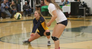 Alhambra's' libero Sophia Olson records one of her 28 digs on the night in the Bulldogs' 3-0 win over Concord High on Oct. 27, 2016. The win helped the Bulldog girls claim the DAL title. (MARK FIERNER / Martinez Tribune)