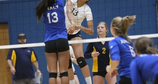 Alhambra sophomore captain Sterling Parker had 10 kills in the Bulldogs' loss to Buhach Colony-Atwater on Nov. 16, 2016. Parker is one of seven players returning to the program next year, and will lead the attacking lines. (MARK FIERNER / Martinez Tribune)