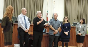 Steven Grubka (third from left) was awarded the 2016 EcoAward at the Nov. 2, 2016, Martinez City Council meeting for being the top Martinez point earner in the 2015-16 Cool California Challenge. Mayor Rob Schroder (second from left) presented Grubka with a framed certificate and glass statuette, honoring him for being a leader in environmental stewardship. Also pictured are councilmembers Lara DeLaney, Mark Ross and AnaMarie Avila Farias. (JOHN GRUBKA / Courtesy)