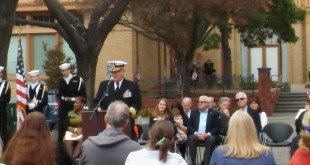 Key note speaker Captain Ingemar Olsson delivers the Veterans Day Message at Ignacio Plaza, Nov. 11, 2016. (DEBORAH KIMBRELL / Courtesy)