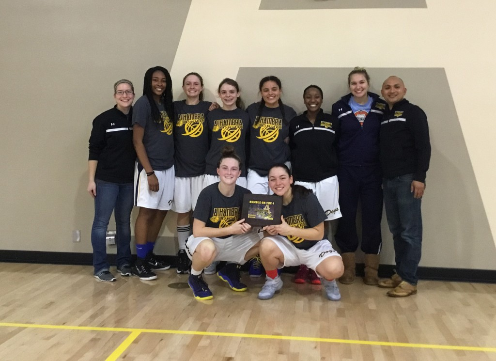 Alhambra's girls basketball team won three in a row in the Antioch Tournament to win the title. The girls beat West-Tracy 77-21 in the championship game. (ON FILE / Courtesy)