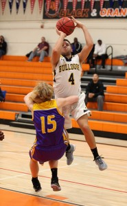 Alhambra senior Luke Brown draws contact on his way to the basket in the Bulldogs' 61-58 win over Armijo-Fairfield on Dec. 10, 2016. The win was Alhambra's first of the season. (MARK FIERNER / Martinez Tribune)
