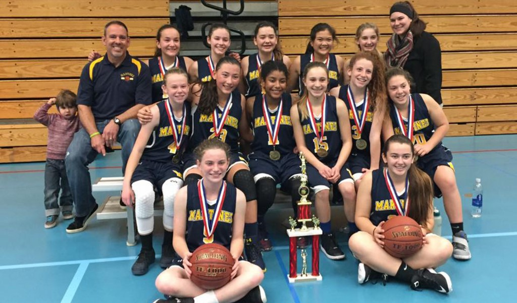 Back row, from left: Teague Duarte, Coach Mark Duarte, Rylee Blanchard, Jordan Allred, Kelli Griffin, Andi Romana, Gondica Strykers and Coach Kelley Sweeney. Middle row: Kira Nilson, Isabela Emerling, Laylah Fonseca, Julia Beaty, Leah Swaigen and Sophia Gargaro. Front row: Hannah Fidler and Shannon Kelly. (TONI KELLY / Courtesy)