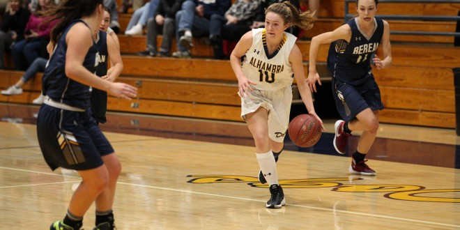 Alhambra freshman Kaylee Pond (10) had six steals and six assists to go alone with 11 points in the Bulldog girls' win over Berean Christian on Jan. 13, 2017. (MARK FIERNER / Martinez Tribune)