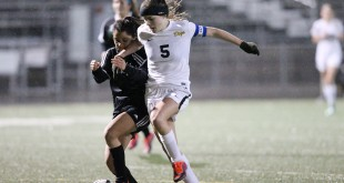 Alhambra senior Sarah Emight (5) scored two goals in the Bulldog girls soccer team's 7-0 win over Mt. Diablo on Monday, Jan. 9, 2017. Emigh is one of the team captains. (MARK FIERNER / Martinez Tribune)