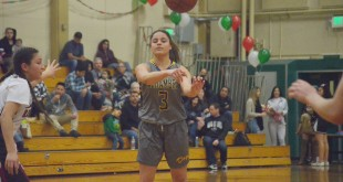 Alhambra sophomore Abby Brown led the Bulldogs with her vision from the point guard spot in their 66-24 win over Mt. Diablo in the league finale on Feb. 17, 2017. (GERARDO RECINOS / Martinez Tribune)
