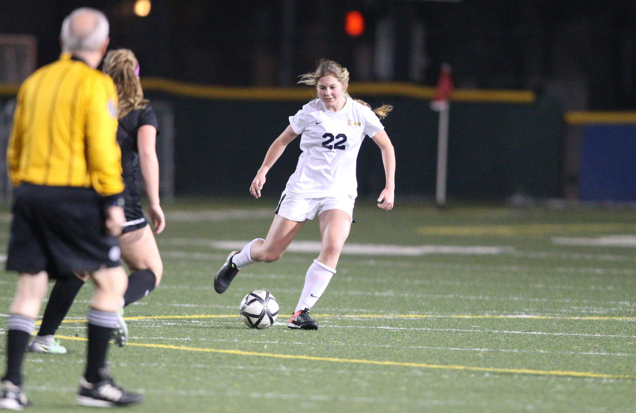 Alhambra junior Jenna Coffman (22) and the rest of the Bulldog defense held resolute and kept the Novato Hornets off the score board in their 2-0 win in the first round of the North Coast Section playoffs on Feb. 15, 2017. (MARK FIERNER / Martinez Tribune)