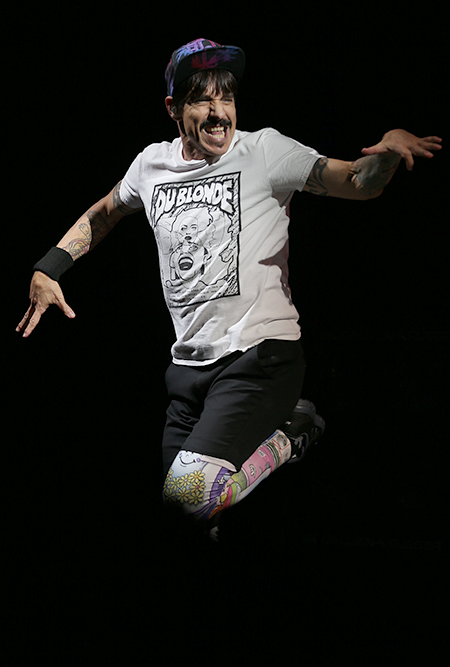 © Daniel Gluskoter Anthony Kiedis of the Red Hot Chili Peppers performs at Oracle Arena in Oakland on March 12, 2017.