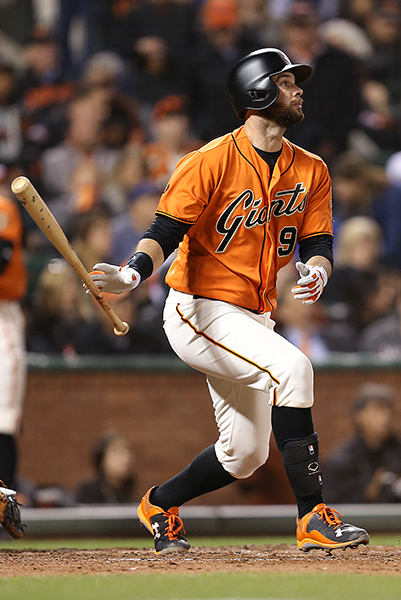 © DANIEL GLUSKOTER First baseman Brandon Belt set career highs with 82 RBI's and 156 games played in 2016.