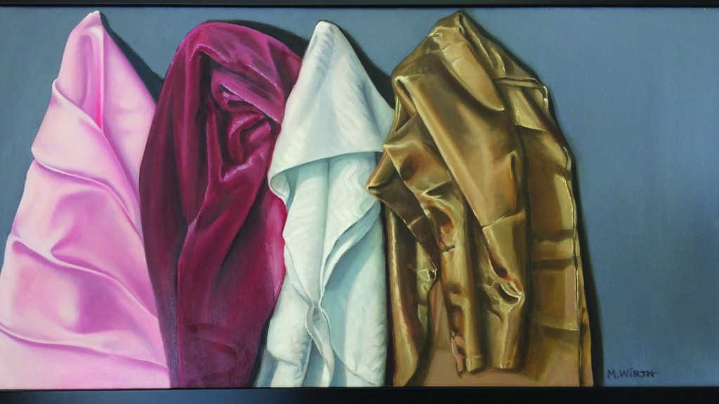 """Why Can't We Get Together,"" a work of Mimi Wirth featuring realistic textures of pink satin, burgundy velvet, white polyester and almond taffeta. Wirth's work will be on display at Main Street Arts, 613 Main St., Martinez, from 5-8 p.m. Saturday, March 11. (ON FILE / Martinez Tribune)"