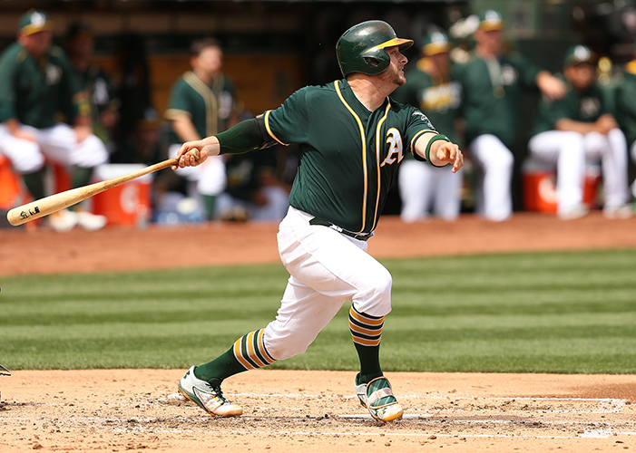©DANIEL GLUSKOTER Stephen Vogt continues to provide consistency both behind the plate and in the field, playing over 135 games for a second straight season.