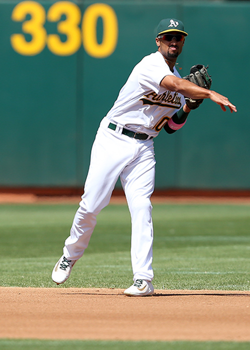 ©DANIEL GLUSKOTER Shortstop Marcus Semien  improved his performance dramatically on both sides of the plate last season, slugging 27 home runs with 75 RBI's  while only missing three games as his defense improved significantly from 2015 .