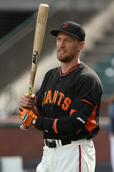 © DANIEL GLUSKOTER Hunter Pence has missed more games than he's played the past two seasons, but continues to be one of the most electrifying players in the Giants lineup.