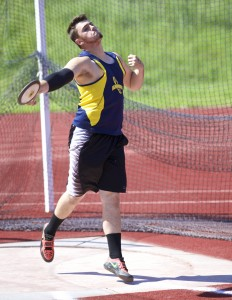 Alhambra junior Aiden LaHonta  set a personal record on April 19 in the discus by tossing the platter 113 feet, 7 inches. (MARK FIERNER / Martinez Tribune)