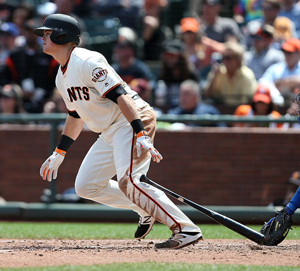 ©DANIEL GLUSKOTER Giants rookie Third Baseman Christian Arroyo had a solid Major League debut, getting his first hit off Clayton Kershaw Tuesday before blasting a two-run home run off former Giant Sergio Romo the following night.
