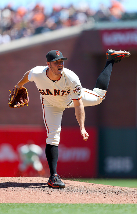 ©DANIEL GLUSKOTER Ty Blach pitched seven shutout innings against the Padres on Sunday in his second start in Madison Bumgarner's spot in the rotation, but another subpar effort by the bullpen cost him a win as San Diego came back to win 5-2 in 12 innings.