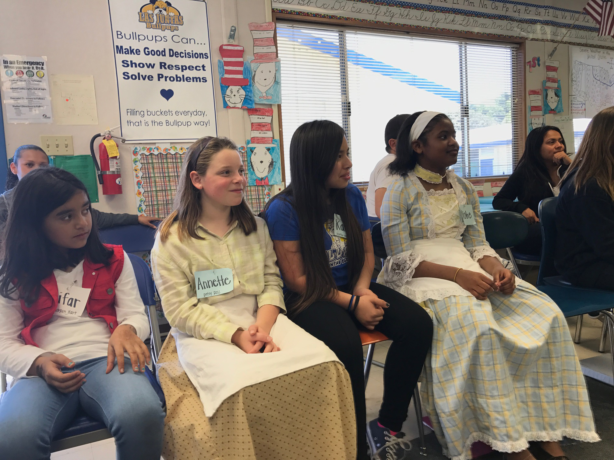"Students in period dress during the ""Walk Through the American Revolution"" program, March 28, 2017, at Las Juntas Elementary School. (MARTINEZ TRIBUNE / On File)"