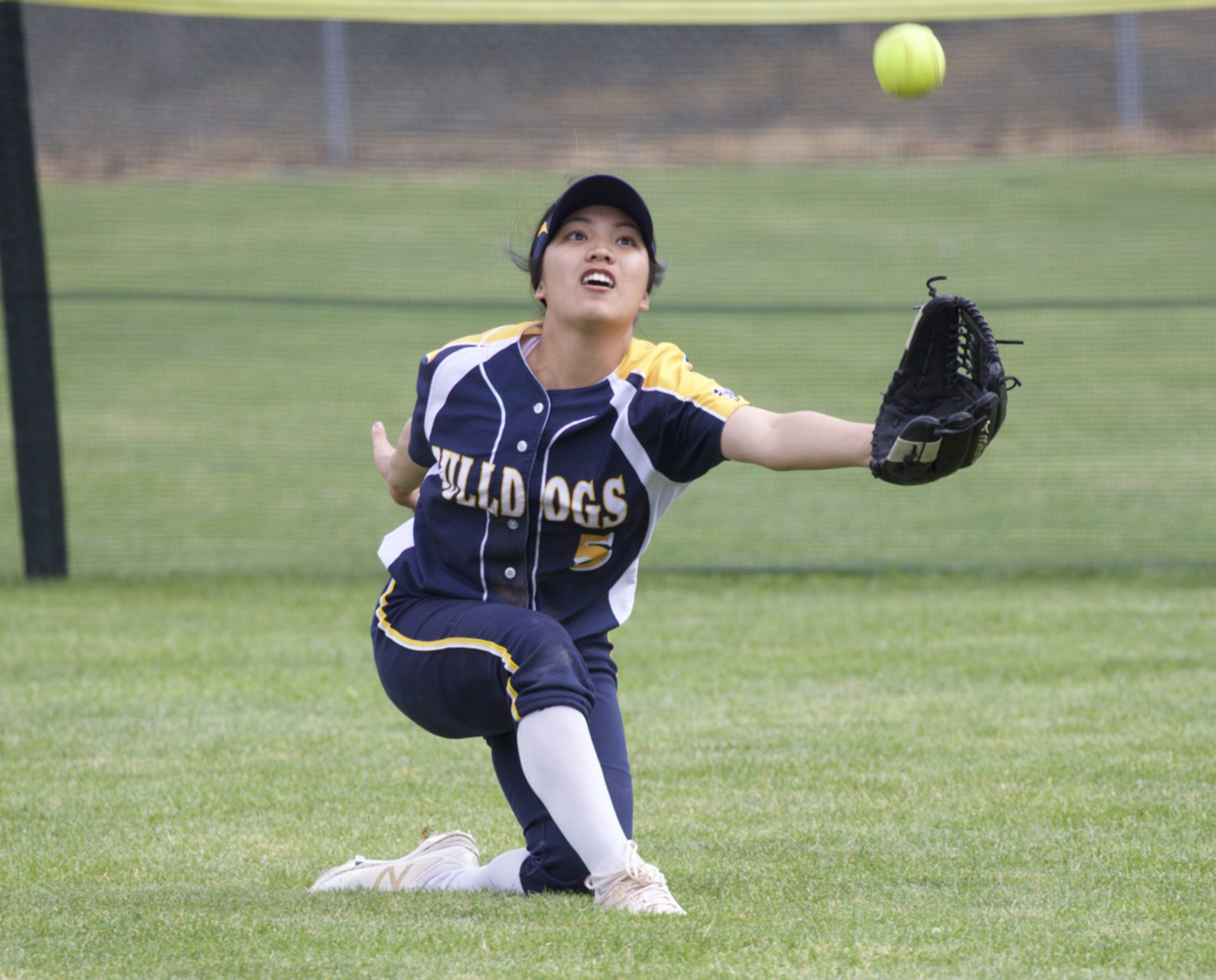 Senior Kimiko Zapanta had two hits in the Bulldogs 9-1 loss to Foothill-Pleasanton in the opening game of the Livermore Stampede Tournament on April 6, 2017. (MARK FIERNER / Martinez Tribune)