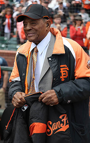 ©DANIEL GLUSKOTER Willie Mays appears during pre-fame festivities prior to the San Francisco Giants home opener on Monday against the Arizona Diamondbacks. The Giants won 4-1.