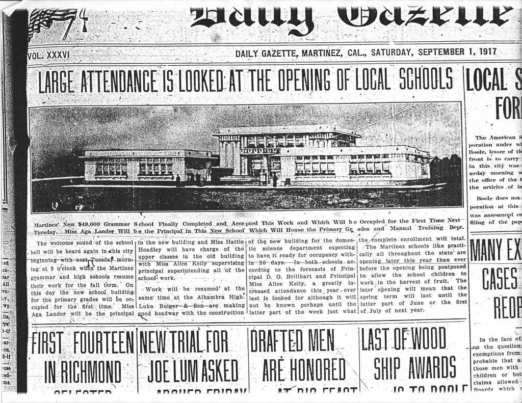 A Sept. 1, 1917 article on the opening of the Martinez Grammar School, which is now Martinez City Hall. (DAILY GAZETTE / On File)