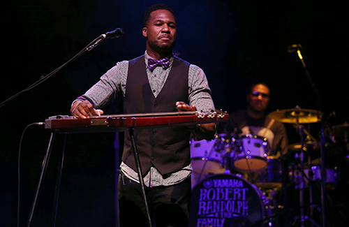 © DANIEL GLUSKOTER Robert Randolph performs on his pedal steel guitar at The Fillmore in San Francisco Friday night.