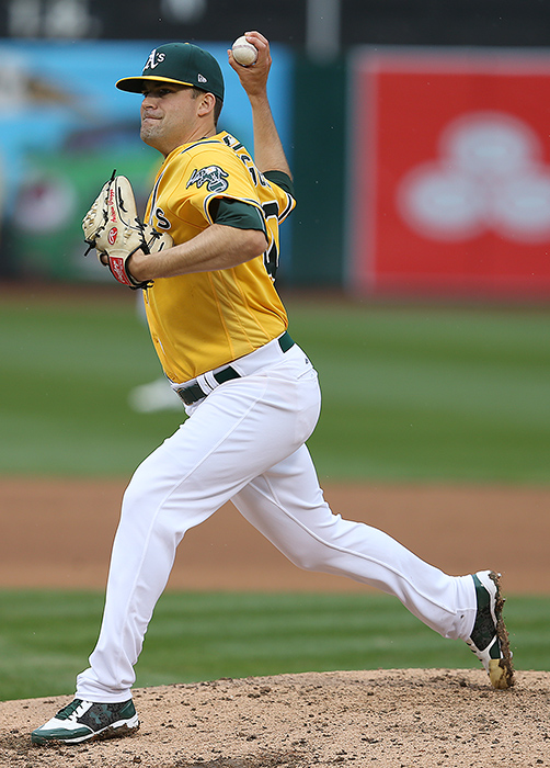 ©Daniel Gluskoter Andrew Triggs pitched 5 2/3 strong innings in his first appearance of the season at the Coliseum on Thursday during the A's 5-1 win over the Angels.