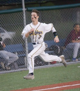 Alhambra sophomore Tyler Boyce drove in four runs in the Bulldogs' 23-0 demolition of Mt. Diablo-Concord. The catcher  had two hits on the night, and also scored three runs. (MARK FIERNER / Martinez Tribune)
