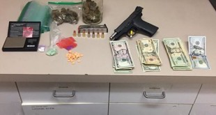 Drugs, a loaded gun, a 'large sum of money', and an intoxicated minor were discovered in a vehicle during a traffic stop on Pacheco Boulevard on Saturday. Eighteen-year-old Lenny Dombach was arrested, and the minor returned to her parents. (MARTINEZ POLICE DEPARTMENT / On File)