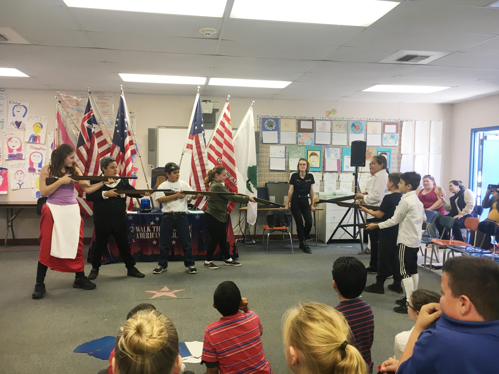 Students in Mrs. Lutz' 5th grade class at Las Juntas Elementary re-enact scenes from the American Revolution during a program at the school March 28, 2017. (MARTINEZ TRIBUNE / On File)