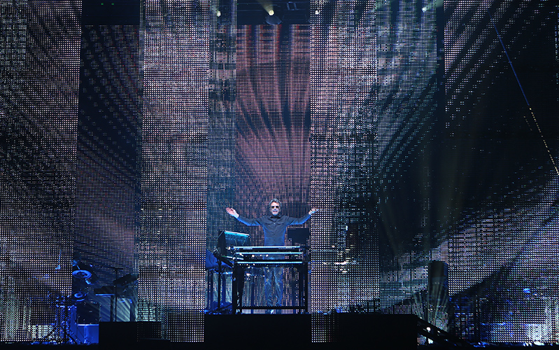 ©DANIEL GLUSKOTER Electronica Pioneer Jean-Michel Jarre appears at the Greek Theatre in Berkeley on Friday night.