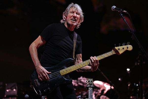 "©DANIEL GLUSKOTER Roger Waters performs at the HP Pavilion in San Jose on Wednesday night as part of his ""Us + Them"" tour."