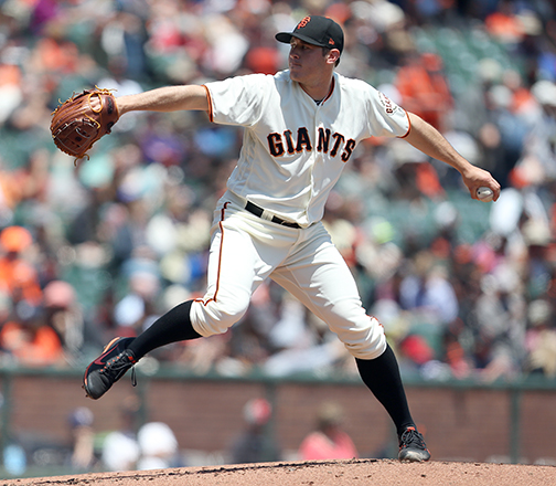 ©DANIEL GLUSKOTER Ty Blach settled down after a shaky start to pitch 6 1/3 solid innings to pick up the win as the Giants finished a three game sweep of the Rockies with a 5-3 win at AT&T Park on Wednesday.