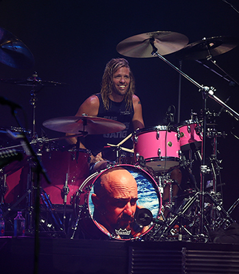 ©DANIEL GLUSKOTER Taylor Hawkins flashes his ivories while manning the drums during the Foo Fighters BottleRock closing set in Napa Sunday evening.