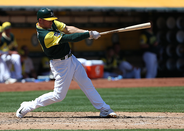 ©DANIEL GLUSKOTER Matt Chapman's second inning home run helped the A's get off to a fast start on Sunday, as Oakland completed a three game sweep of Texas with an 8-3 victory.