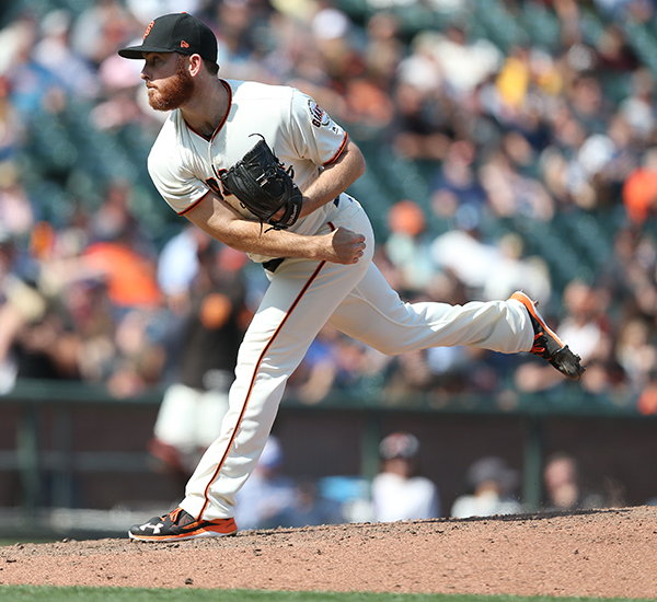 ©DANIEL GLUSKOTER Sam Dyson's consistency as the Giants new closer has helped stabilize their bullpen. On Wednesday, Dyson converted his 12th save in 13 opportunities since being acquired from Texas in June.