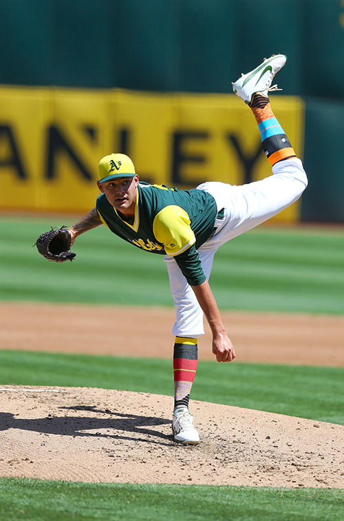 ©DANIEL GLUSKOTER Sean Manaea and the A's colorful Little League themed uniforms seemed to provide a good luck charm. Manaea pitched five solid innings on Saturday to improve to 9-8 on the season, and Oakland completed a three game sweep of Texas the following day.
