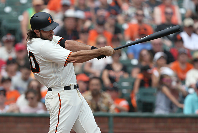 ©DANIEL GLUSKOTER Madison Bumgarner's third home run of the season wasn't nearly enough to offset the three he gave up in Sunday's 7-3 loss to the Cardinals.